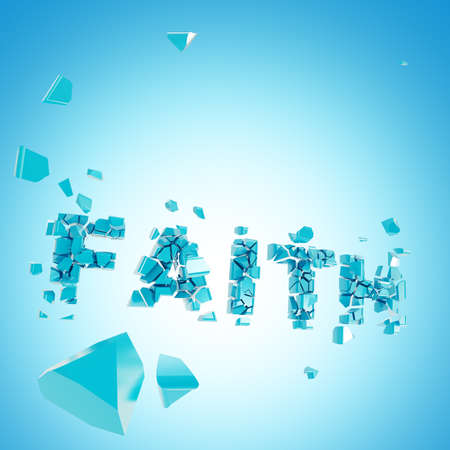 abstract backround: Broken faith abstract backround composition of word crashed into pieces Stock Photo