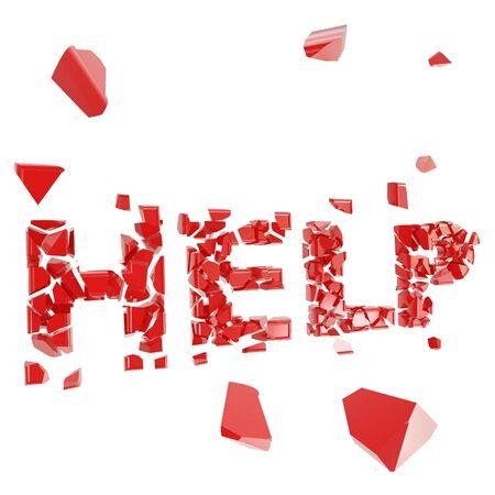 debris: Broken help metaphor, smashed word explosion Stock Photo