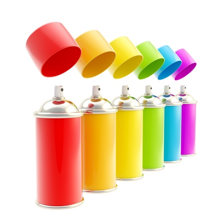 Rainbow colored spray oil color cylinders photo