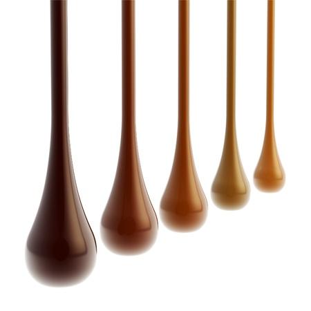 Five kinds of liquid chocolate glossy drops photo