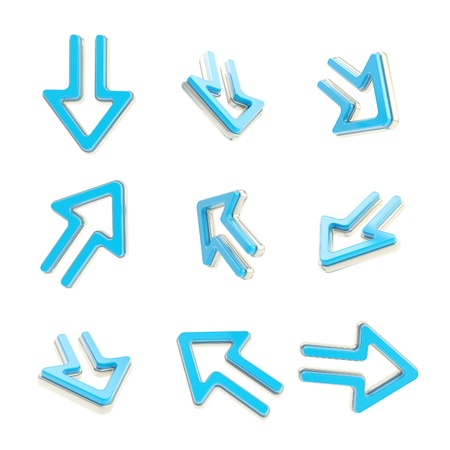 Arrow dimensional icons, set of nine positions Stock Photo - 14294447