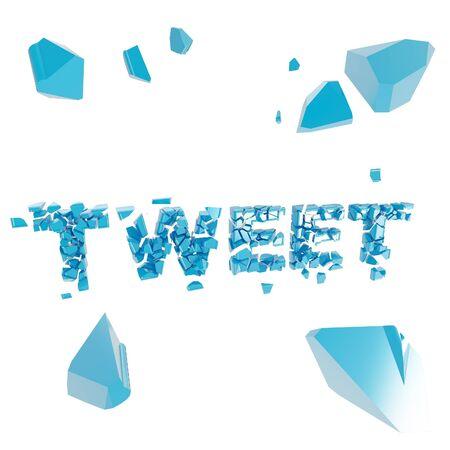 Breaking tweet metaphor, smashed word explosion photo