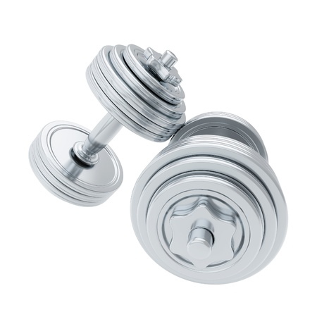 Silver heavy dumbbells isolated on white photo