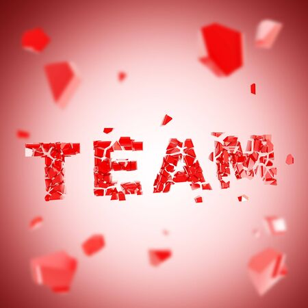 Team explosion as smashed and broken into red pieces word, depth dimensional background Stock Photo - 14294508