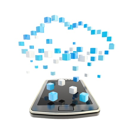 Mobile phone concept under the cloud technology computing symbol made of glossy cubes isolated on white Standard-Bild