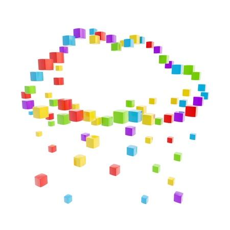 クラウド ・ コンピューティングのアイコンを白で隔離されるカラフルな光沢のあるキューブの作った技術