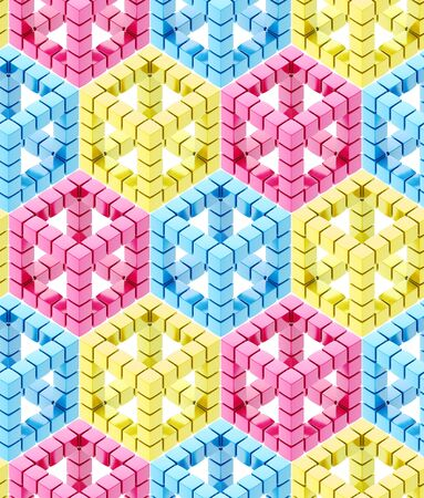 Seamless hexagon cube background texture abstract backdrop photo