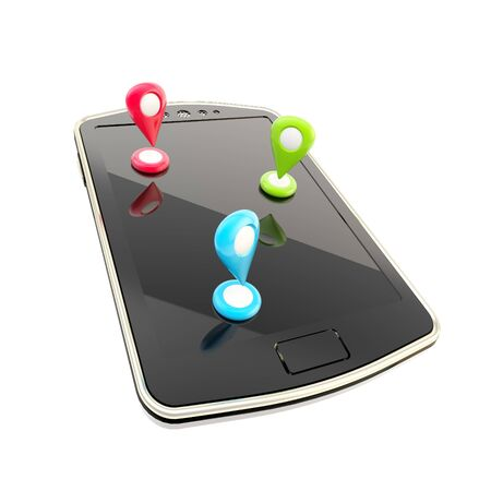 global positioning: Mobile gps navigation concept as phone with geo tags isolated on white