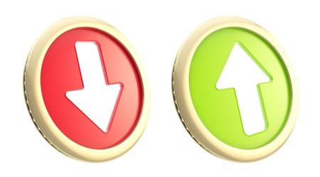 token: Stock market trading fluctuation  up and down arrows as coin token isolated on white Stock Photo