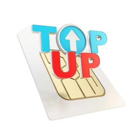 sim: Top-up glossy emblem red and blue icon over sim card chip microcircuit isolated on white Stock Photo