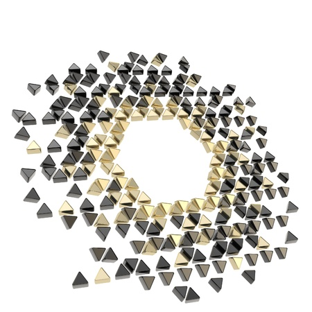 triangle shape: Abstract copyspace hexagon frame backdrop made of tiny glossy black and golden metal triangles isolated on white background