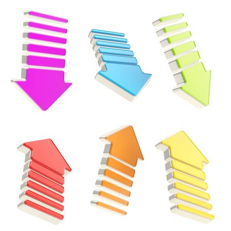 Group of colorful arrows in six foreshortenings and chrome metal edging isolated on white background Stock Photo - 15039805