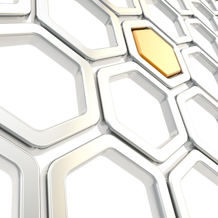 Glossy chrome metal hexagon segments with one orange inside as abstract copyspace background photo