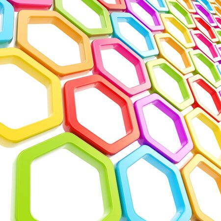 Glossy colorful hexagon segments on white as abstract copyspace background photo