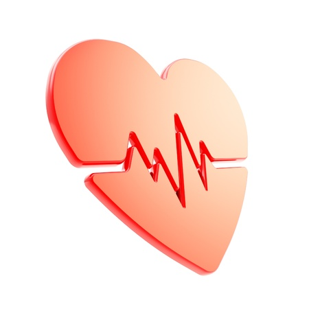 diagnosis: Heart pulse beat and health issues glossy red emblem icon isolated on white