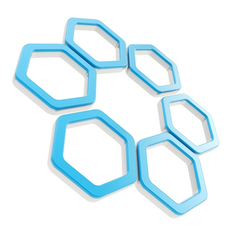 Six part composition made of blue glossy hexagon segments with chrome metal edging isolated on white photo