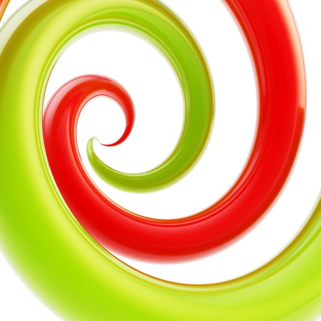 twirled: Twirled vortex as colorful abstract background made of bright green, orange, magenta glossy curve tubes on white