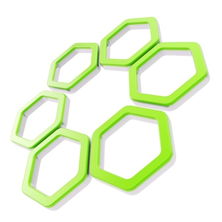 Six part composition made of green glossy hexagon segments with chrome metal edging isolated on white photo