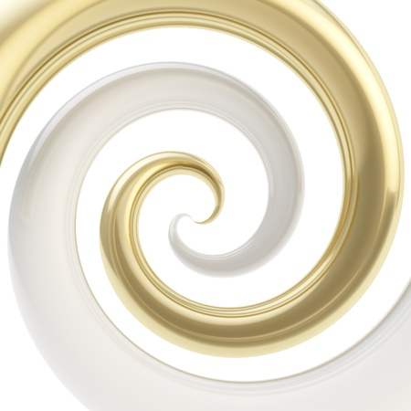 spirals: Twirled vortex as colorful abstract background made of golden glossy curve tubes on white Stock Photo
