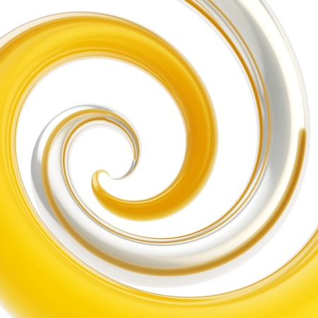 Twirled vortex as colorful abstract background made of glossy chrome metal and yellow curve tubes on white