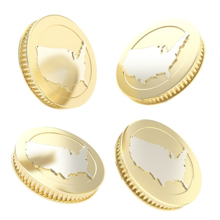 one us dollar coin: Golden shiny coin with usa shape on reverse in four variations isolated on white background