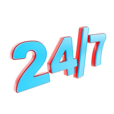24 7 twenty four hour seven days a week glossy red and blue plastic emblem icon isolated on white background photo