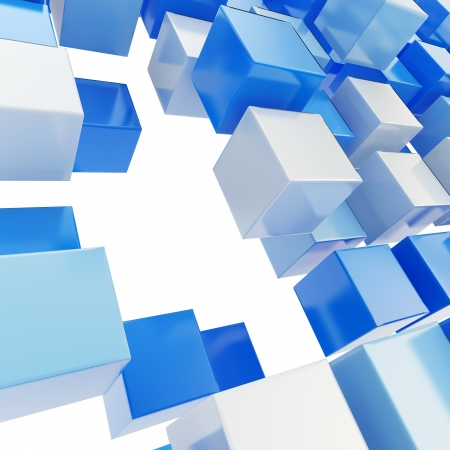 Abstract background made of blue plastic glossy cubes on white Stock Photo - 15040103