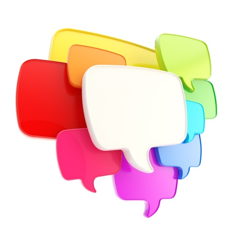 chat: Cloud group of speech text bubbles rainbow colored composition as copyspace banner plate isolated on white Stock Photo