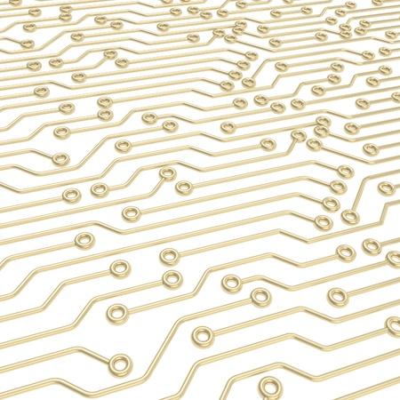 マイクロ チップの技術と科学の抽象的な背景として白で黄金の寸法スキーム 写真素材