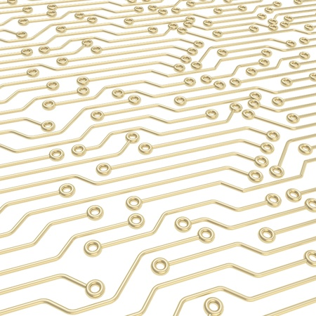 Microcircuit chip golden dimensional scheme over white as technology and science abstract background