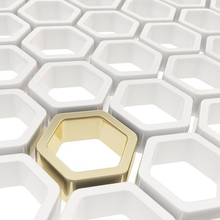 Abstract copyspace background made of one golden hexagon element among white ones photo