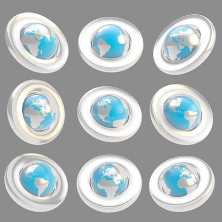 foreshortening: Earth globe emblem chrome metal and blue glossy plastic tag in nine foreshortening isolated on gray Stock Photo