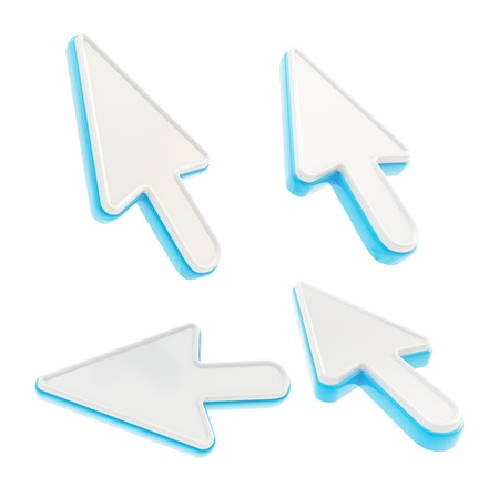 Set of four milky plastic with blue edging mouse cursor pointers isolated on white photo