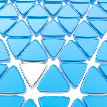 contrasts: Abstract copyspace geometrical background made of blue and chrome metal glossy triangles on white