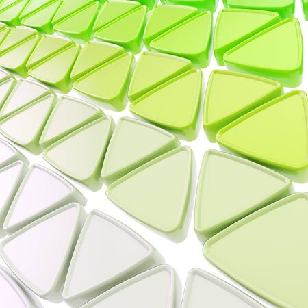Abstract copyspace geometrical background made of glossy green triangles on white photo