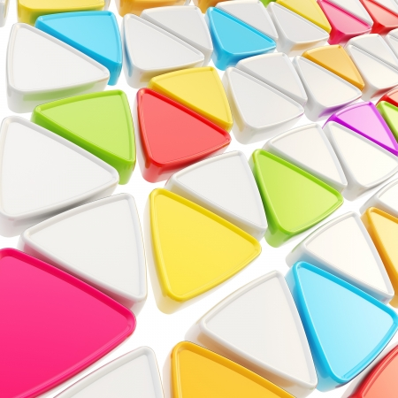 Abstract geometrical background made of glossy colorful triangles on white photo