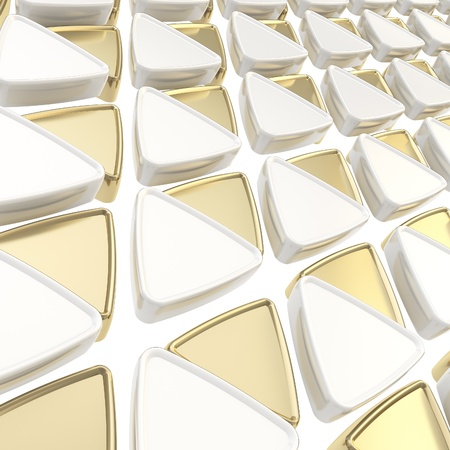 Abstract copyspace geometrical background made of glossy white and golden triangles Stock Photo - 15040123