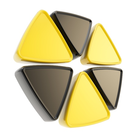 hazardous area sign: Radiation alert sign emblem symbol made of glossy yellow and black triangles isolated on white