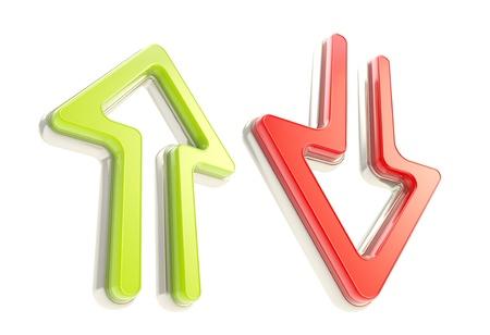 flechas direccion: Abajo iconos de flecha de plástico brillante de color rojo y verde con metal, aislado en blanco