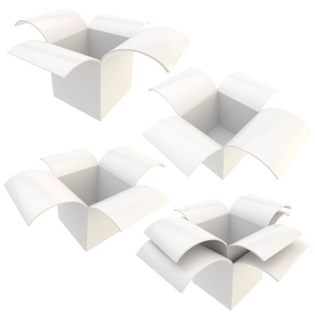 White empty parcel package boxes, set of four, isolated on white photo
