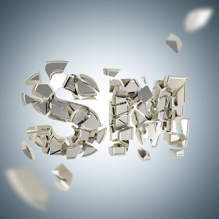 SM explosion as smashed and broken into silver pieces word, depth dimensional background