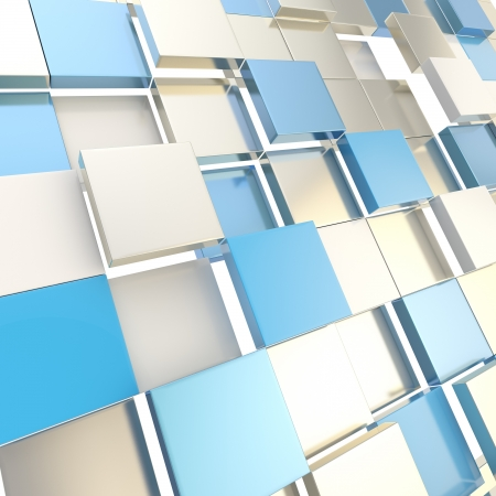 Abstract cube background shiny glossy silver and blue backdrop techno wallpaper Stock Photo - 15040724