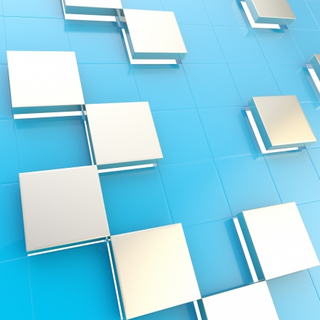 Abstract cube background shiny glossy blue and silver backdrop techno wallpaper Stock Photo - 15040690