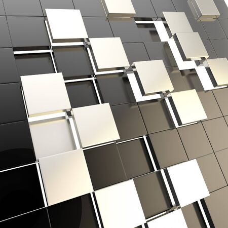 Abstract cube background shiny glossy black backdrop techno wallpaper Stock Photo - 15040740