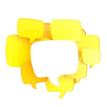 テキストの泡、黄色とオレンジ色の雲の光沢のあるバナーの背景は白で隔離される copyspace 空板としてグループ化 写真素材