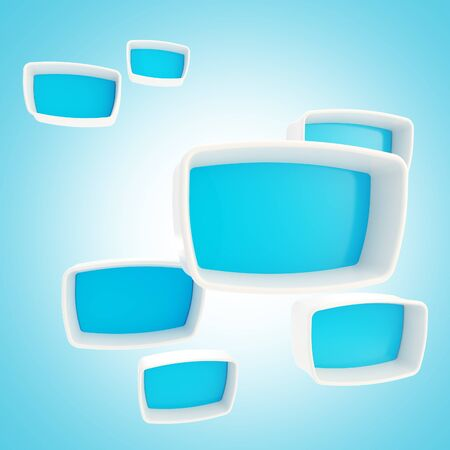 Blue showcase boxes glossy and plastic as abstract background photo