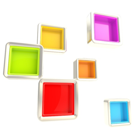 window case: Cube copyspace colorful silver shelves isolated on white as abstract background