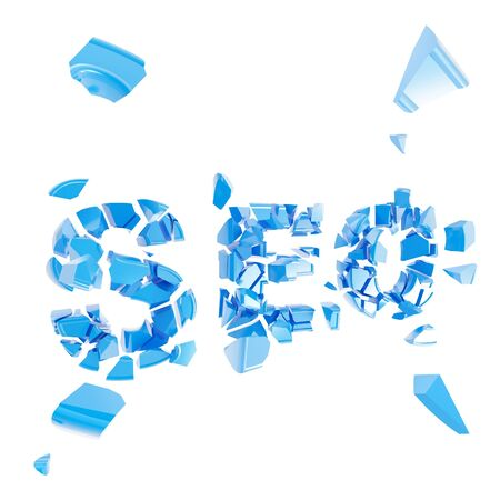 pile engine: Broken SEO as word crashed into small pieces isolated on white