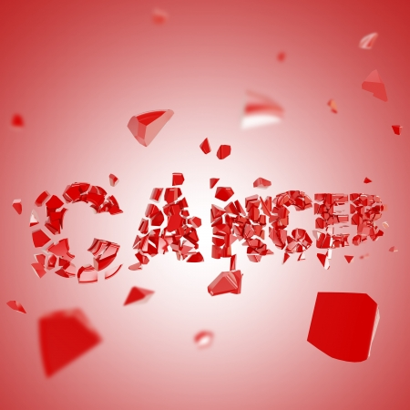 cancer symbol: Fight the cancer composition background made of broken into pieces word