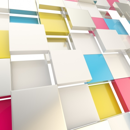 Cmyk 色の光沢のある光沢のある板から成っている抽象的な copyspace 背景のキューブ 写真素材
